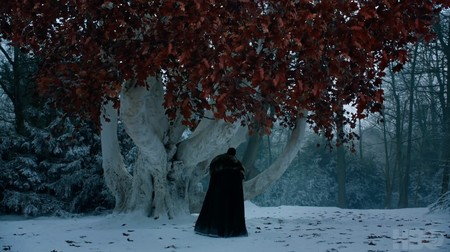 Jon Snow In Front Of The Weirwood Tree In The Game Of Thrones Season 8 Trailer