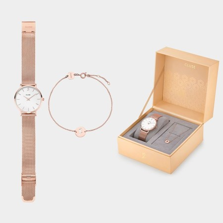 Cluse Minuit Heart Rose Gold Mesh Watch And Bracelet Gift Box