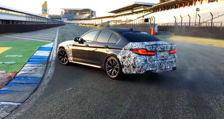El nuevo BMW M5 CS que todavía no ha sido confirmado por la marca ya rueda a fuego en Hockenheim