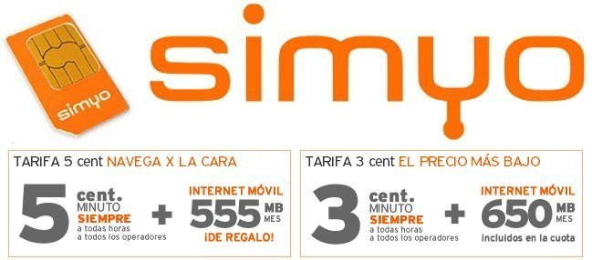 Simyo aumenta gratis los MB de sus tarifas para hablar y navegar