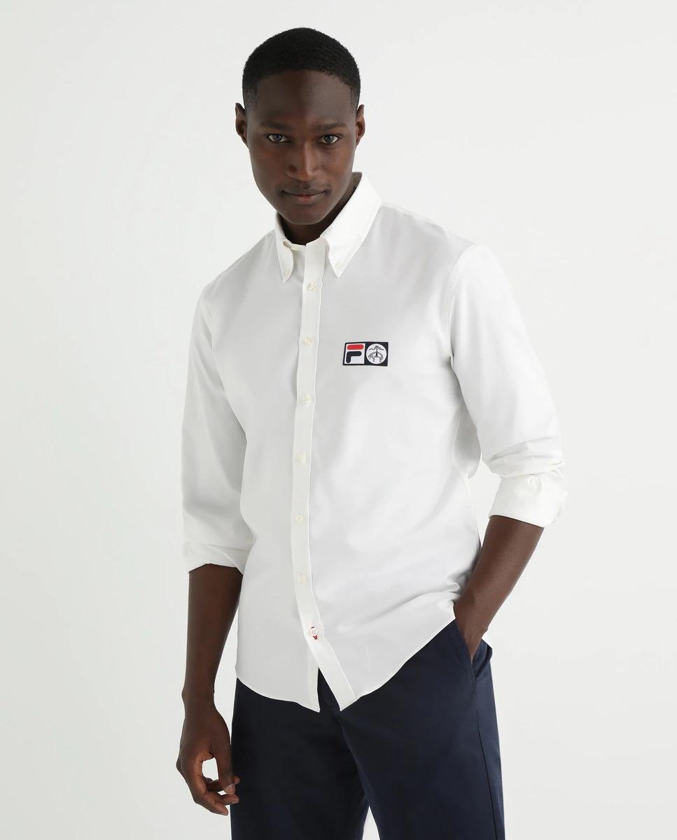 Camisa sport Non Iron de manga larga en algodón supima con logo FILA.