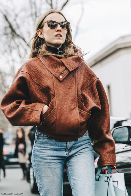 Pfw Paris Fashion Week Fall 2016 Street Style Collage Vintage Alexandra Carl Leather Jacket Celine Boots