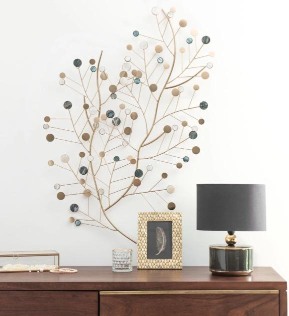Decoración de pared con ramaje de metal dorado 47x90 Elinor