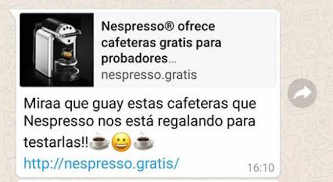 No, Nespresso no está obsequiando cafeteras, es otra estafa mas que circula por WhatsApp