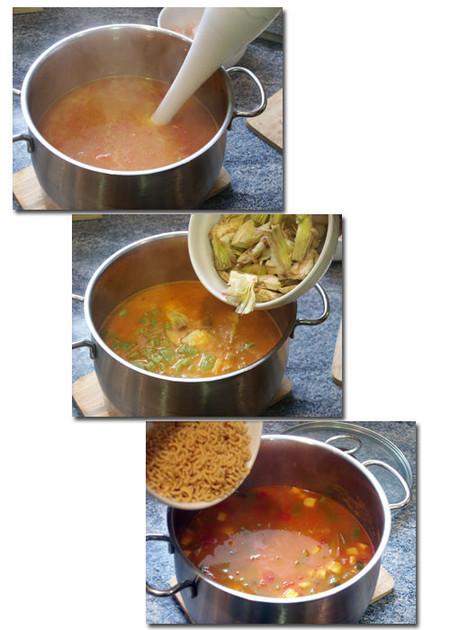 elaboración de cazuela de fideos