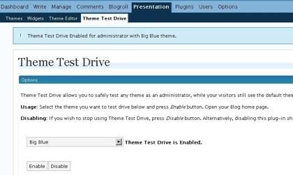 Theme Test Drive, probando temas en WordPress sin afectar a los visitantes