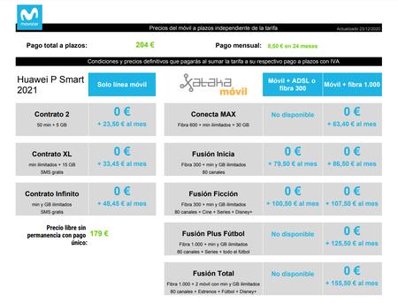 Precios Huawei P Smart 2021a Plazos Con Tarifas Movistar