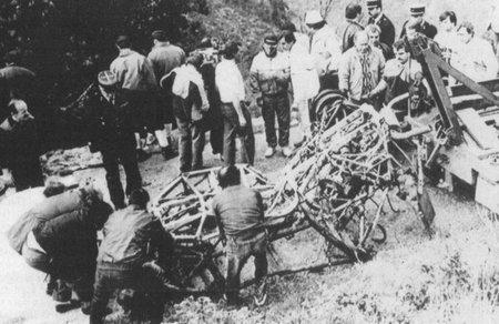 Lancia Delta S4 tras el accidente de Toivonen