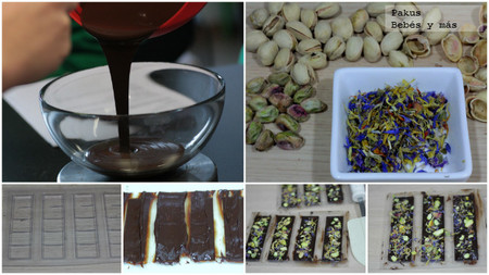 chocolatinas de pistachos y flores