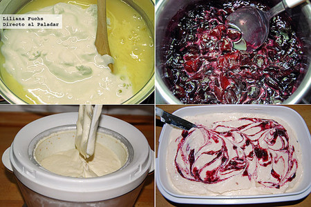 Receta de helado de tarta de queso con cerezas. Pasos