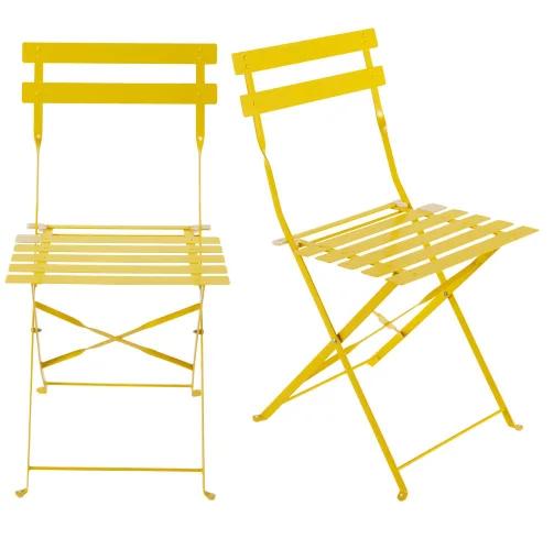 Pack de dos sillas amarillas de metal