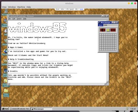 Windows 95 vuelve a la vida en esta máquina virtual que te permite incluso jugar al Doom (también bajo macOS y Linux)