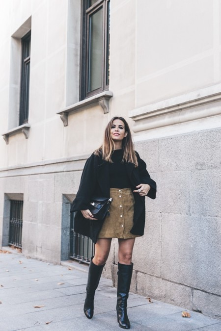 High Boots Suede Skirt Iro Paris Black Jacket Off The Shoulders Sweater Outfit Street Style 17 790x1185