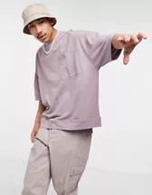 Camiseta lila lavada extragrande con bajo y puños estilo sudadera de piqué de ASOS DESIGN