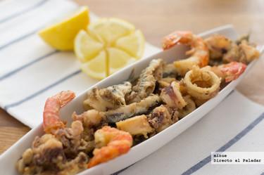 Receta de pescaíto frito. Fritura de pescado a la andaluza