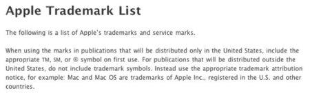Resumen de todos los productos, marcas registradas y normativa de Apple