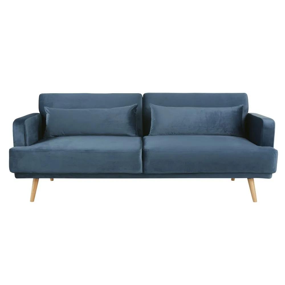 ELVIS.- Sofá cama de 3 plazas de terciopelo azul