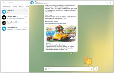Screenshot of Telegram WebK