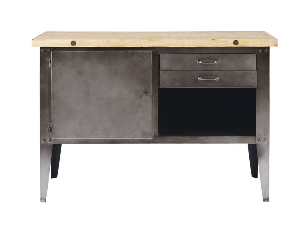 Aparador con 2 cajones de metal gris y pino reciclado FULTON. Esta pieza  inspirada en antiguos muebles de artesano, combina de maravilla la madera bruta y el metal gris para crear un look realmente industrial. Dimensiones (cm): Alto90 x Ancho130 x Profundo50