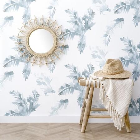 Palmeras Blue Wallpaper Papel Pintado
