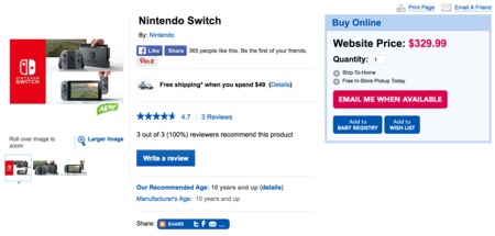 Nintendo Switch en Toys R Us Canadá