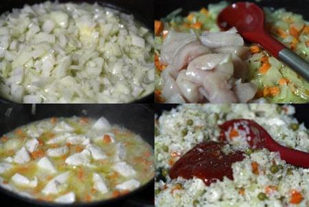 Hacer arroz salteado con pollo