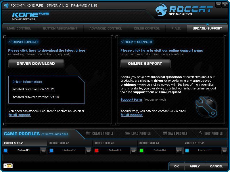 Roccat Kone Pure, software