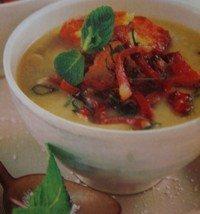 Sopa de alcachofas con panceta y jamón