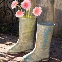 Una buena idea: en el jardín las flores en katiuskas