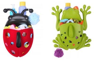 Coloridos organizadores para los productos y juguetes de baño