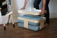 Mesa, bandeja, escabel y cojines de suelo, cuatro en uno