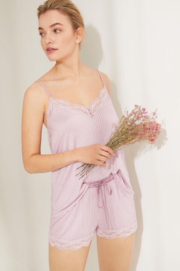 Pijama corto de tirantes color rosa