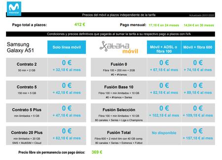 Precios Del Samsung Galaxy A51 A Plazos Con Tarifas Movistar
