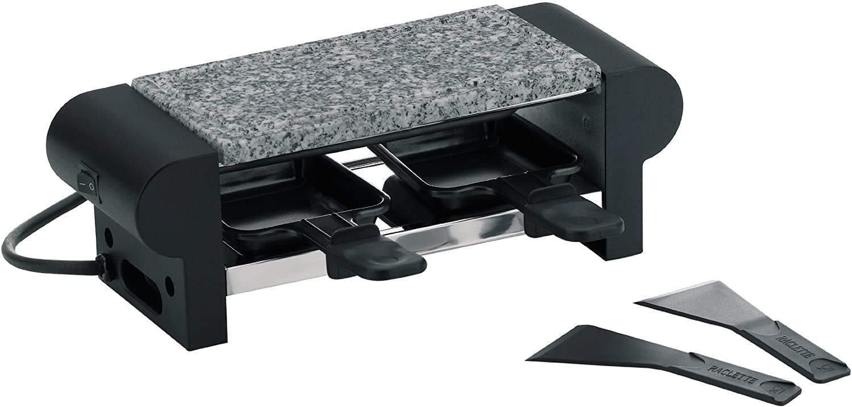 Kela 66493 Bernina - Mini raclette con piedra para asar, para 2 personas, color negro