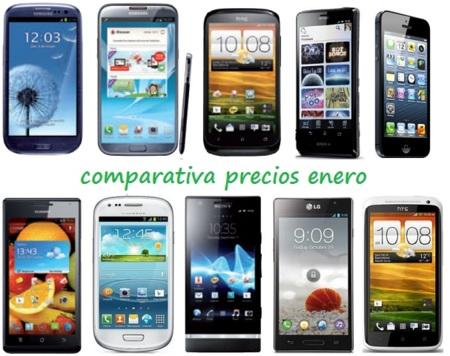 Comparativa Precios Smartphones más potentes Enero 2013