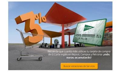 Repostando en Repsol, Campsa o Petronor acumulamos euros para comprar en El Corte Inglés
