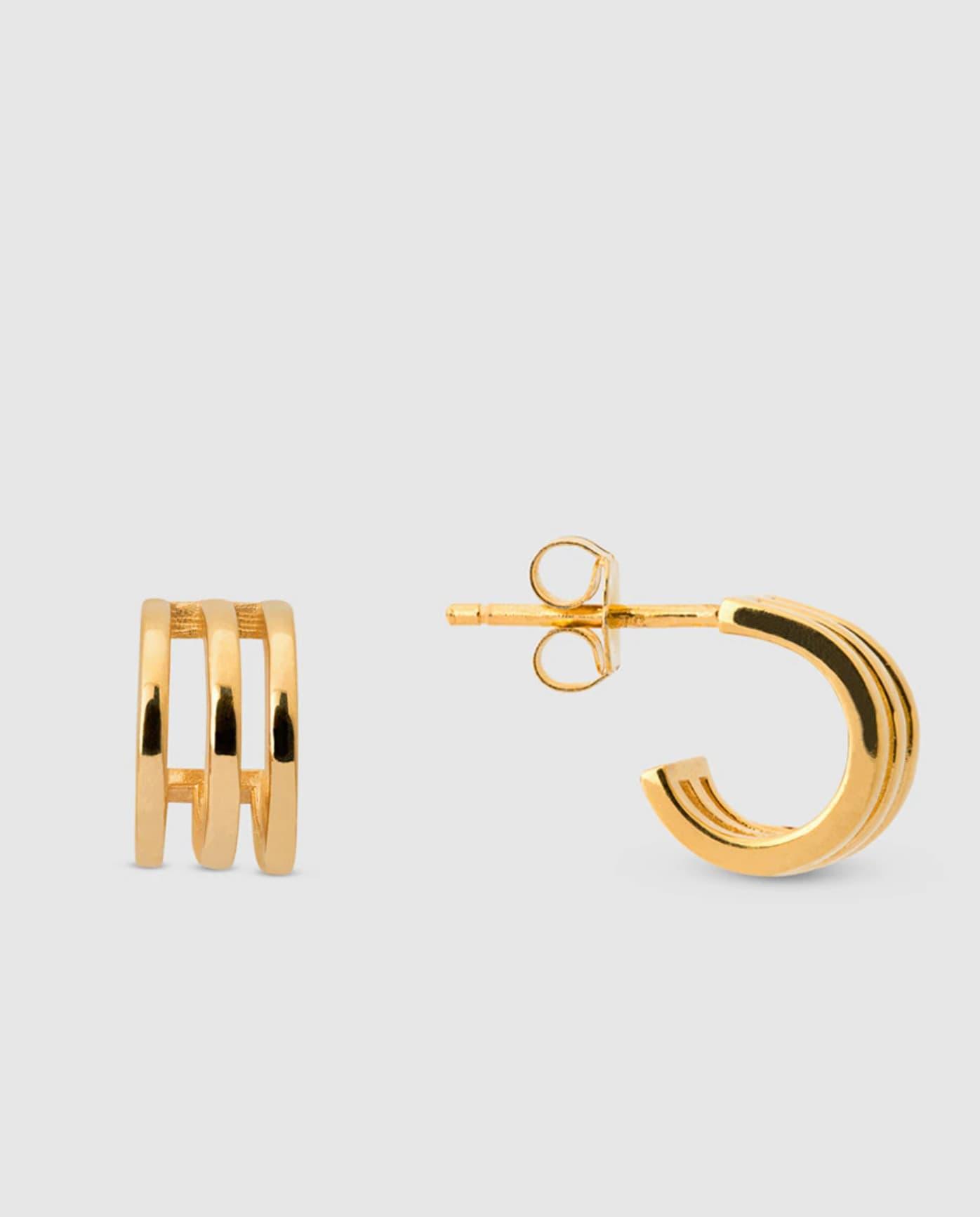 Mini pendientes de aro El Corte Inglés de plata dorada