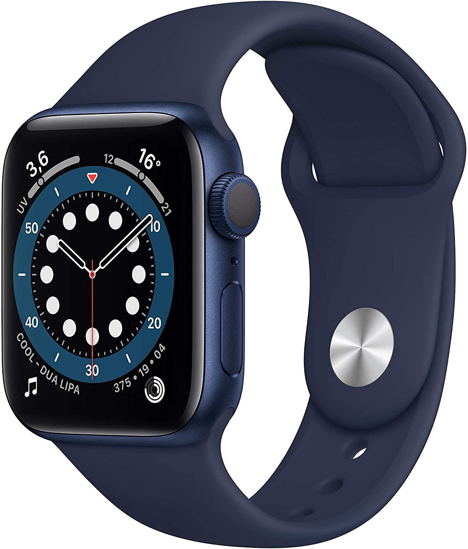 Apple Watch Series 6 (GPS, 40 mm) Caja de aluminio en azul - Correa deportiva azul marino intenso