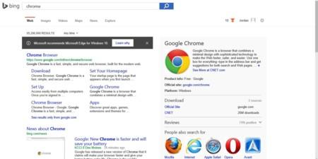 A Bing no le gusta que busques otros navegadores, y recomendará usar Edge cuando lo hagas