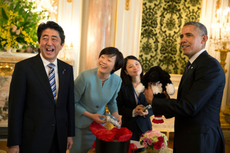Shinzo Abe With Obama Laughing 2014