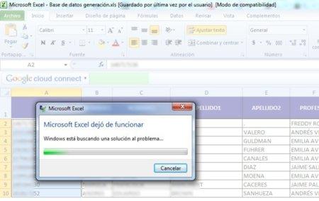 Error en Excel provocado por Cloud Connect