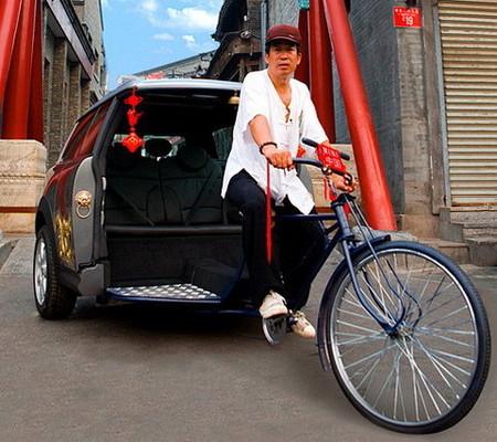 Un Mini con tracción humana en los Juegos Olímpicos de Pekín