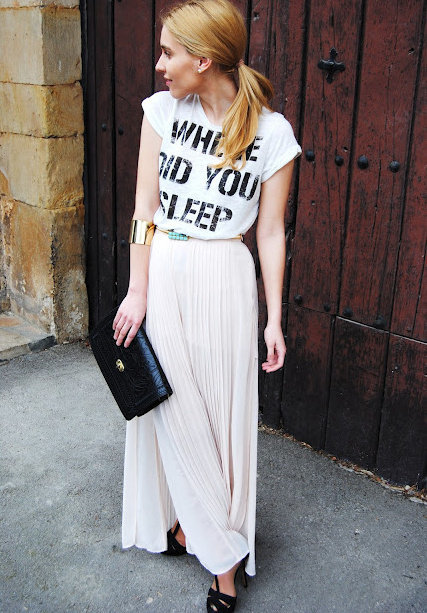 camiseta falda larga