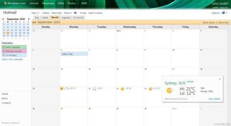 Windows Live Calendar incorporará información del clima y seguridad SSL durante toda la sesión