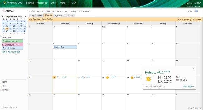 El tiempo en WL Calendar