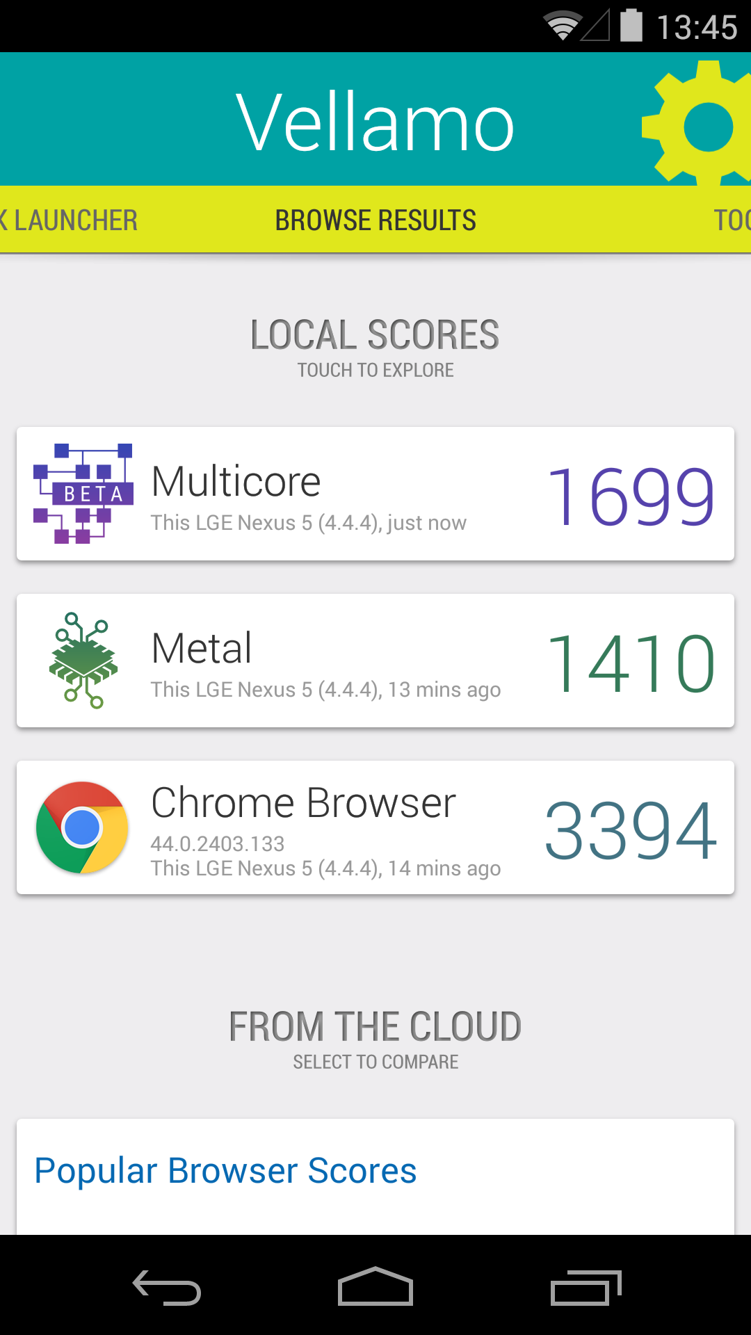 Benchmarks Nexus 5 Android 4 4 4 35 37