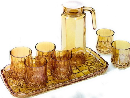 conjunto bandeja y vasos