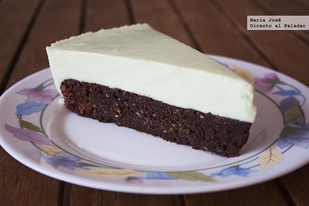 Tarta de brownie de chocolate y mousse de menta