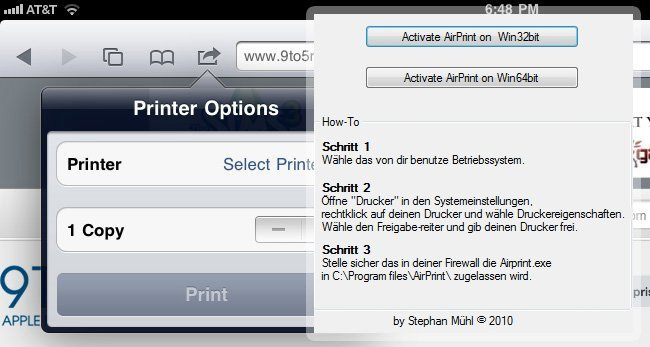 AirPrint Windows iOS