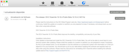 Ya disponible la tercera beta de OS X Yosemite 10.10.4